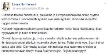 Laura Huhtasaari terrorismista