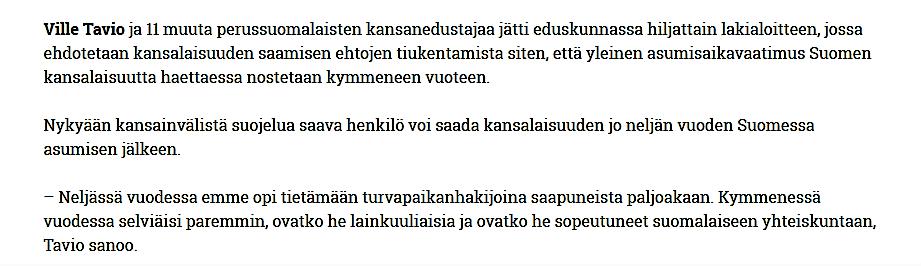 Suomen kansalaisuus Tavio