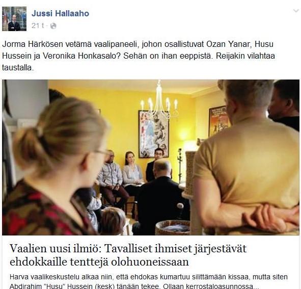 Halla-aho vaalitentistä 030415 (2)